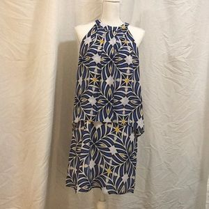 Blue, white, and yellow dress